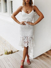 Load image into Gallery viewer, Fashion Sexy Sling Stitching  Lace Ruffled Dress