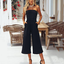 Load image into Gallery viewer, Sexy Sleeveless Off Shoulder Solid Color Wrapped Chest Slim Jumpsuit