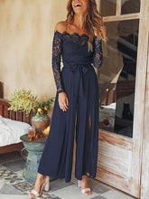 Load image into Gallery viewer, Sexy Off Shoulder Lace Split Lace-Up Slim Jumpsuit