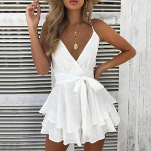 V-Neck Lace-Up Ruffled Dress