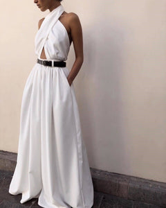 Casual Sexy Sling Off Shoulder Backless Jumpsuit