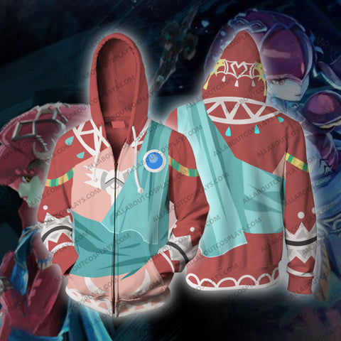 The Legend of Zelda Breath of the Wild Mipha Cosplay Zip Up Hoodie Jacket
