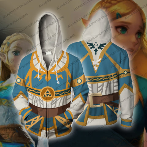The Legend of Zelda Breath of the Wild Princess Zelda Cosplay Zip Up Hoodie Jacket