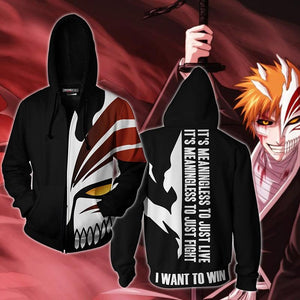 Bleach Hoodies - Kurosaki Ichigo 3D Zip Up Hoodie Cosplay Jacket Costume