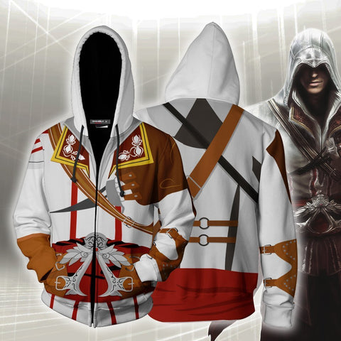 Assassin's Creed II Altair Ibn-La'Ahad Cosplay Zip Up Hoodie Jacket