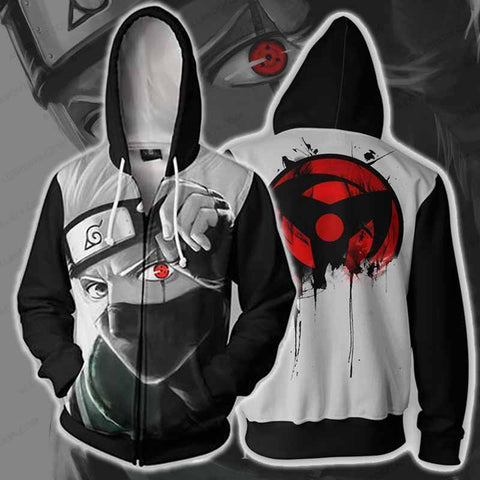Naruto Kakashi Sharingan Zip Up Hoodie Jacket