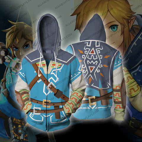 The Legend of Zelda Breath of the Wild Link Cosplay Zip Up Hoodie Jacket