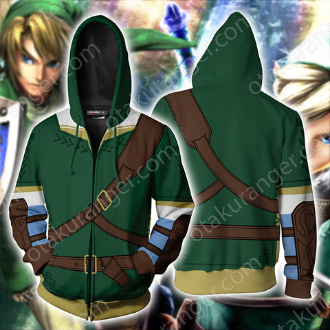 The Legend of Zelda Link Green And Dark Cosplay Zip Up Hoodie Jacket