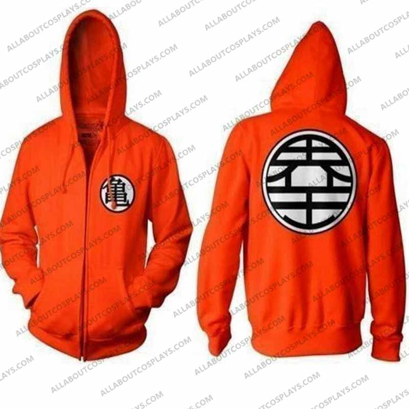 Dragon Ball Z DBZ Son Goku Zip Up Cosplay Hoodie