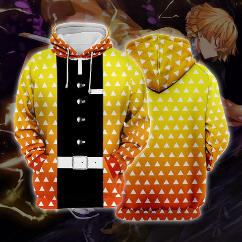 Demon Slayer Kimetsu no Yaiba Agatsuma Zenitsu Golden Cosplay Hoodie