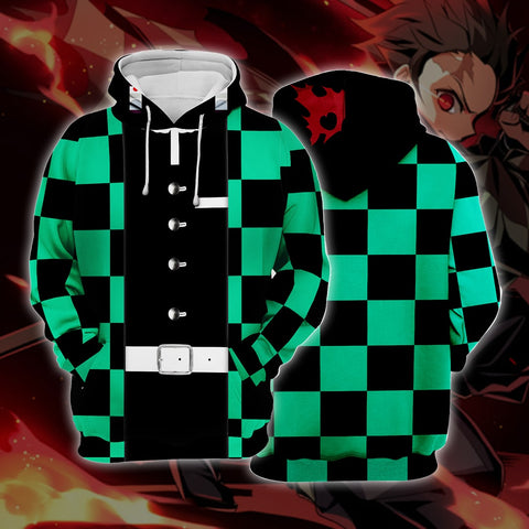 Demon Slayer Kimetsu no Yaiba Tanjirou Green Cosplay Hoodie
