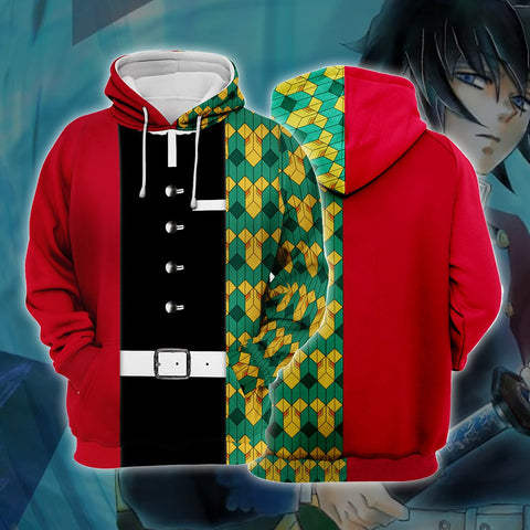 Demon Slayer Kimetsu no Yaiba Tomioka Giyuu Red And Green Cosplay Hoodie