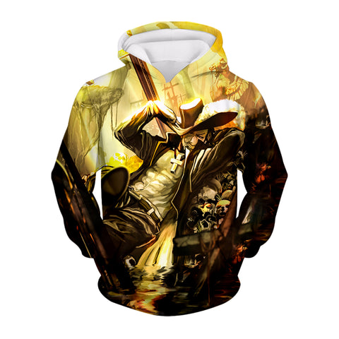 Dracule Mihawk Hawk Eyes one piece pullover hoodie