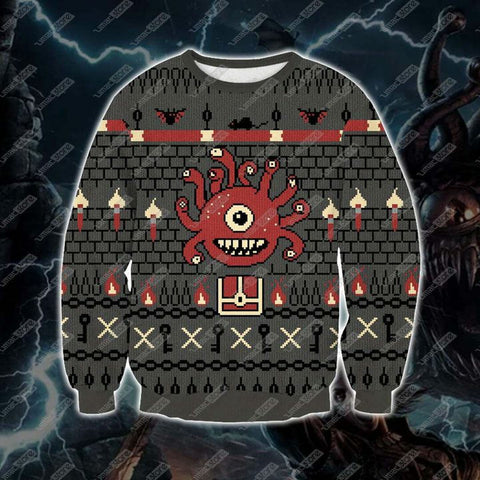 Dungeons & Dragons Beholder 3D Print Ugly Christmas Sweatshirt