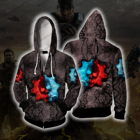 Gears of War Red And Blue Cosplay Zip Up Hoodie