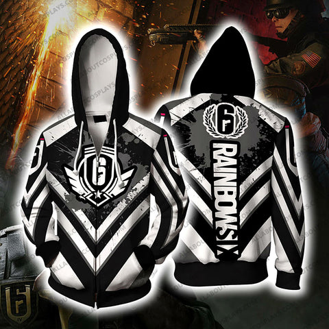 Rainbow Six Siege Black And White Cosplay Zip Up Hoodie Jacket