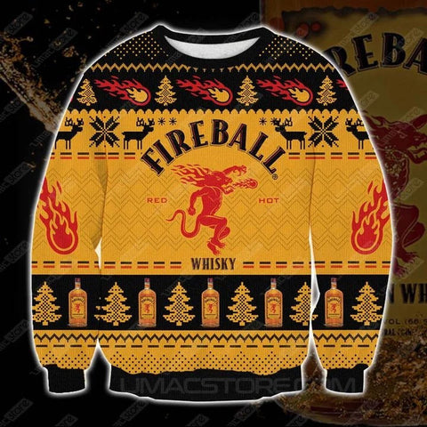 FIREBALL CINNAMON WHISKY FCV2 3D PRINT UGLY CHRISTMAS SWEATSHIRT