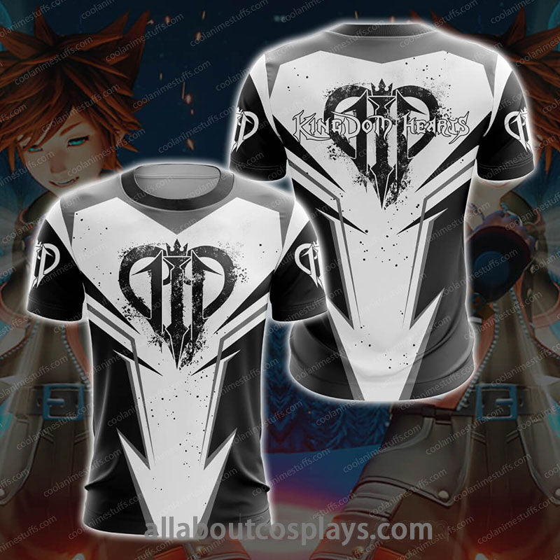 Kingdom Hearts III Black And White T-shirt