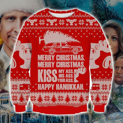 NATIONAL LAMPOON'S CHRISTMAS VACATION KNITTING PATTERN 3D PRINT UGLY CHRISTMAS SWEATSHIRT