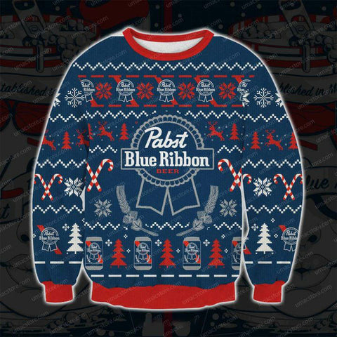 PABST BLUE RIBBON V6 3009 3D PRINT UGLY CHRISTMAS SWEATSHIRT