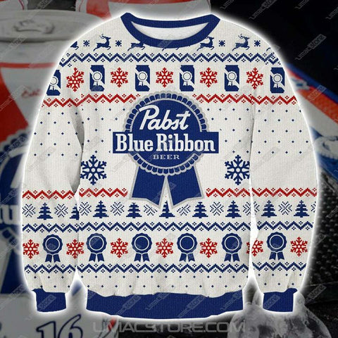 Pabst Blue Ribbon Knitting Pattern 3D Print Ugly Christmas Sweatshirt