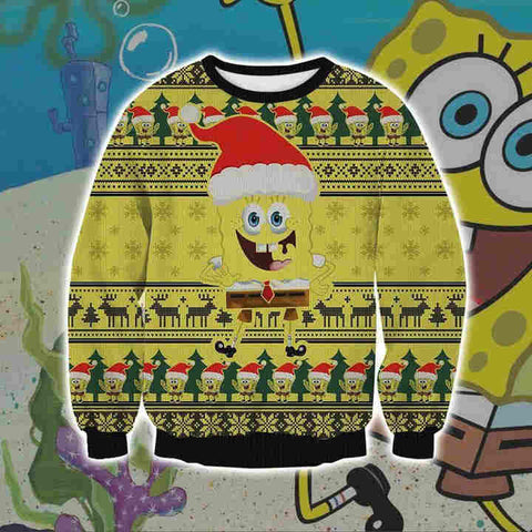 SPONGEBOB SQUAREPANTS KNITTING PATTERN 3D PRINT UGLY CHRISTMAS SWEATSHIRT V2