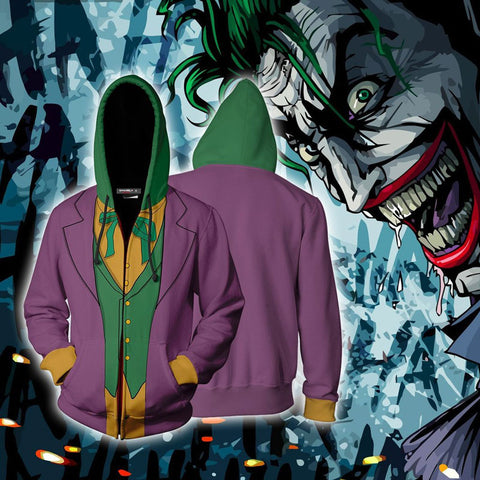 Batman Joker Cosplay Zip Up Hoodie Jacket