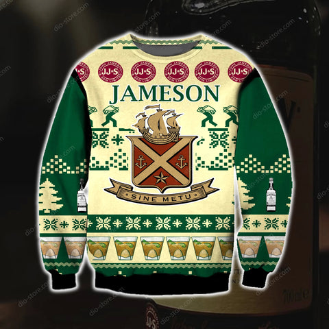 jameson irish whiskey knitting pattern 3d print ugly christmas sweatshirt