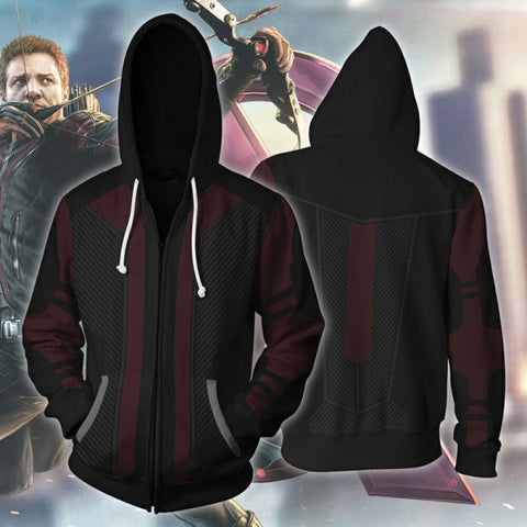 Avengers Hawkeye Zip Up Hoodie Jacket For Men