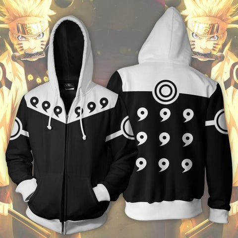 Naruto Hoodie - Naruto 6 Paths Black Rikudou Sennin Mode 3D Zip Up Hoodie Jacket Coat