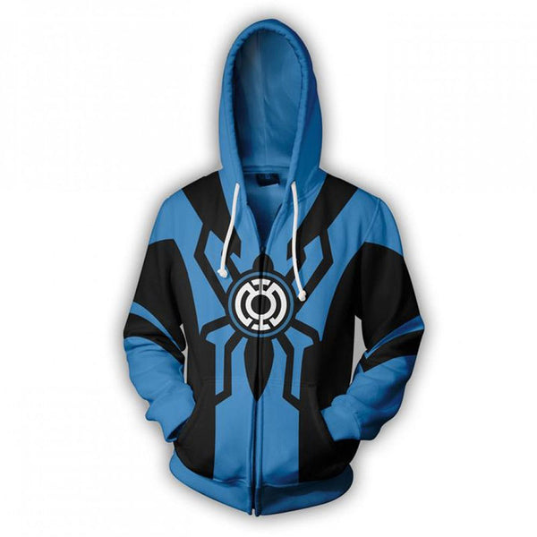 Spiderman Hoodie - Blue Lantern Spider-Man 3D Zip Up Hoodies Jacket Coat