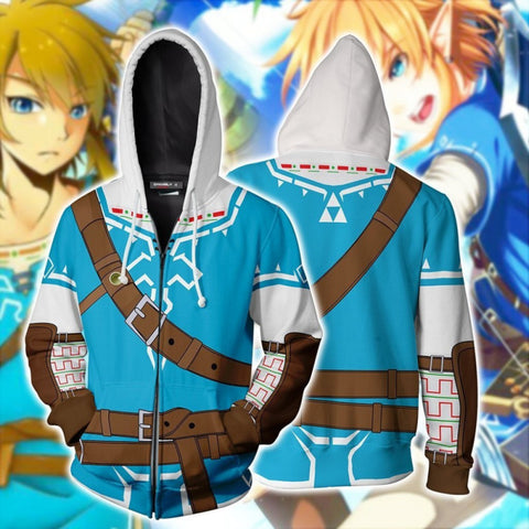 The Legend of Zelda Hoodies - Breath of the Wild Link Zip Up Hoodie Jacket Cosplay