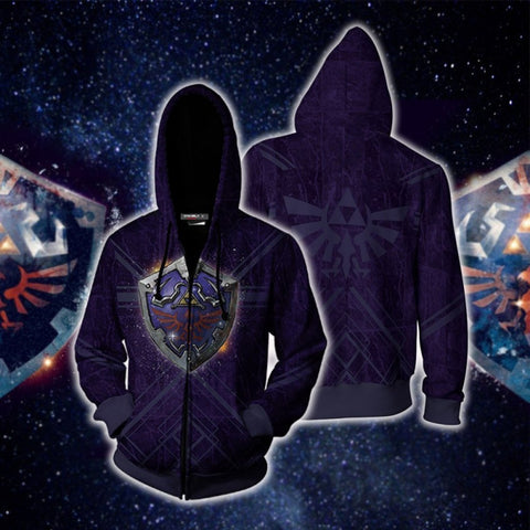 The Legend of Zelda Hoodies - Breath of the Wild Hylian Shield Zip Up Hoodie Jacket Cosplay