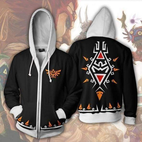 The Legend of Zelda Hoodies - The Legend of Zelda Link Black Zip Up Hoodie Jacket Cosplay