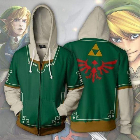 The Legend of Zelda Hoodies - The Legend of Zelda Link Green Zip Up Hoodie Jacket Cosplay