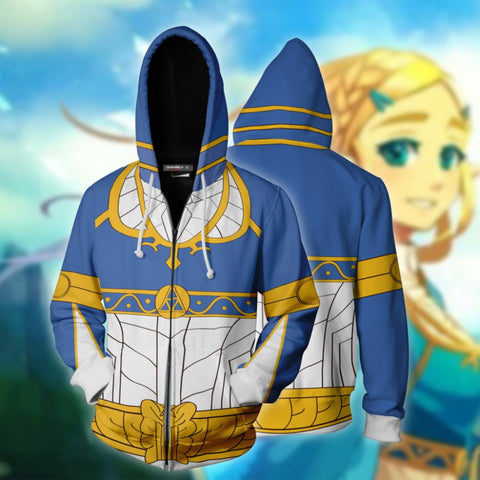 The Legend of Zelda Hoodies - Princess Zelda Skin 3D Zip Up Hoodie Jacket Cosplay