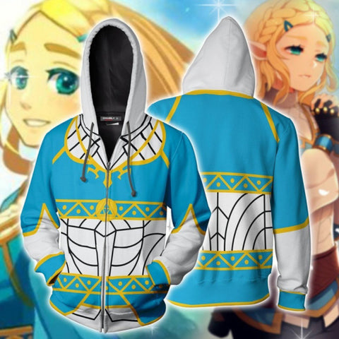 The Legend of Zelda Hoodies - Princess Zelda Cosplay 3D Zip Up Hoodie Jacket