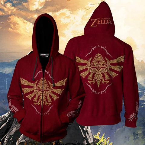 The Legend of Zelda Hoodies - The Legend of Zelda Red Cosplay 3D Zip Up Hoodie Jacket