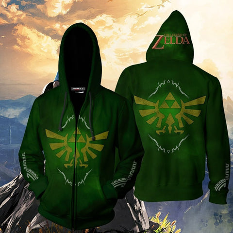 The Legend of Zelda Hoodies - The Legend of Zelda Green Cosplay 3D Zip Up Hoodie Jacket