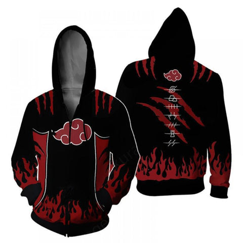 Naruto Hoodies - Naruto Akatsuki 3D Zip Up Hoodie Jacket Coat Cosplay