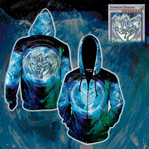Yu-Gi-Oh Hoodies - Stardust Dragon Zip Up Hoodie Jacket Cosplay Costume