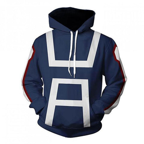 My Hero Academia 3D Print Blue Pullover Hoodies