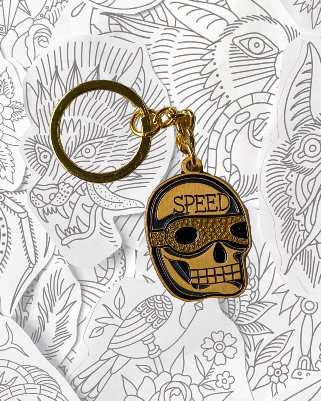 Speed Skull Keychain
