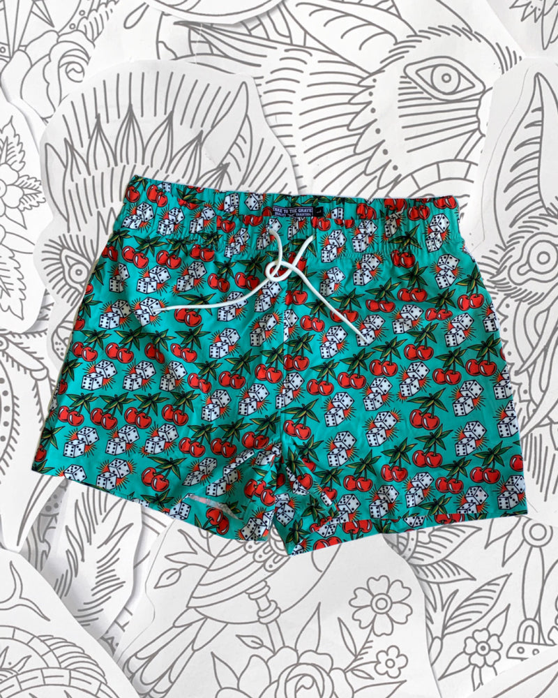 Cherry Dice Swim Shorts