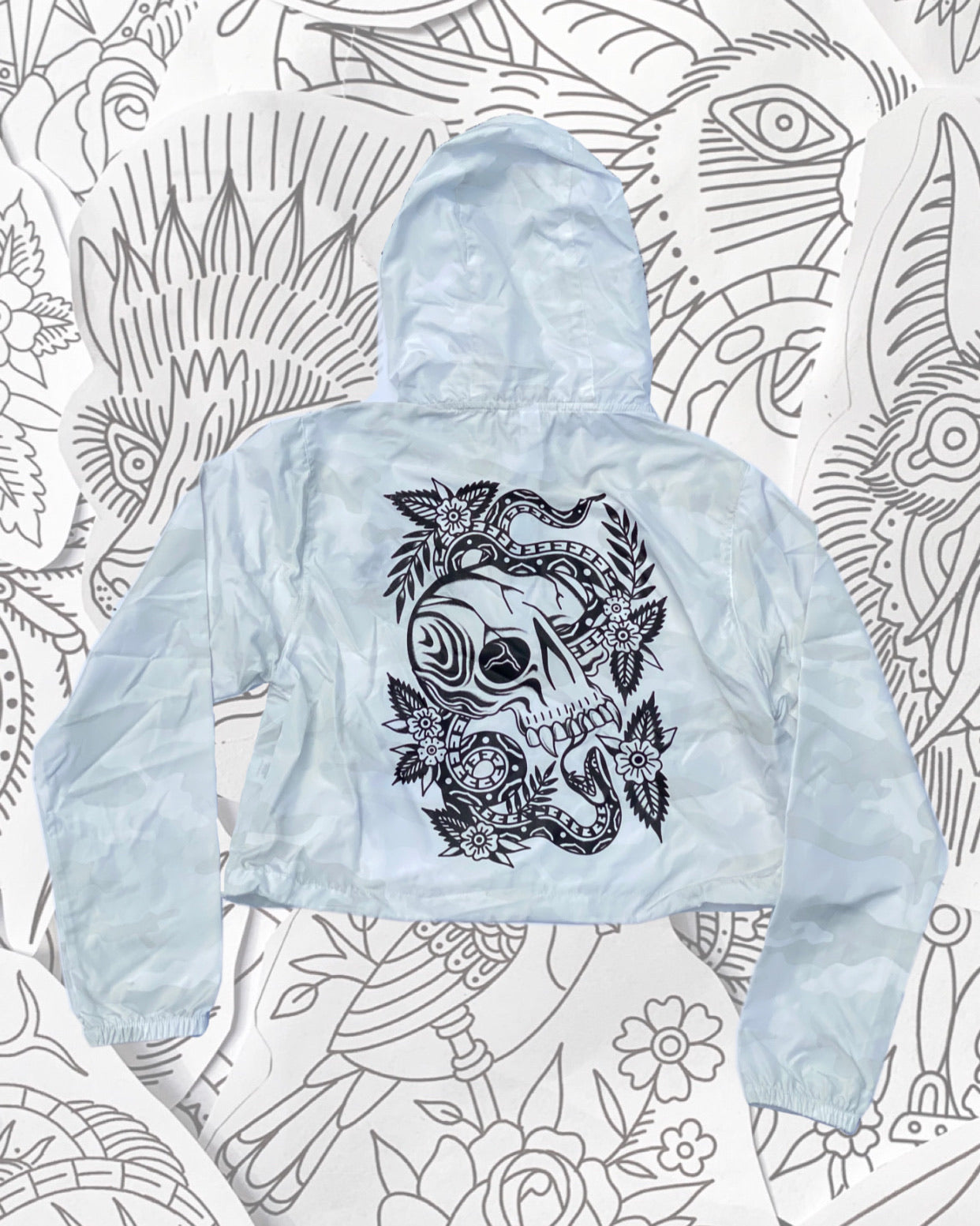Snake & Skull Crop Windbreaker