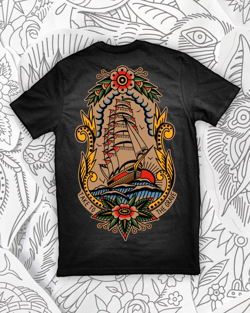 Rose Ship Coffee Wash Tee