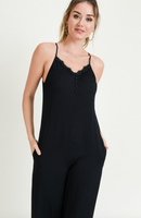 Black Lace Trimmed Button Front Jumpsuit