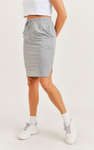 Drawstring Notched Skirt with Pockets