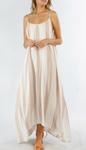 Yarn Dye Maxi Dress with Gold and Pink Stripes