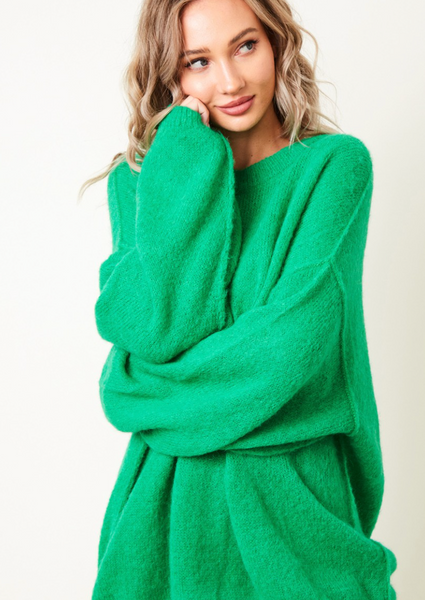 Green Oversized Crewneck Sweater